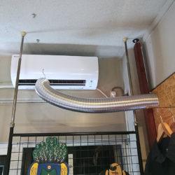 エアコンの冷風をシェープルームに送り込む...