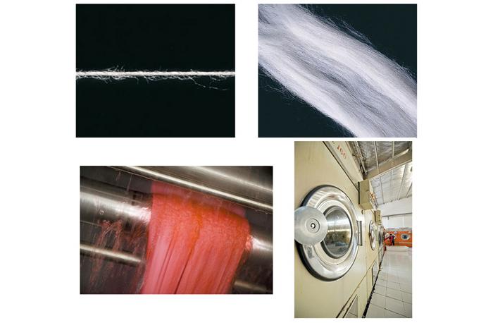 コーマ糸で編み上げた生地と、防縮加工